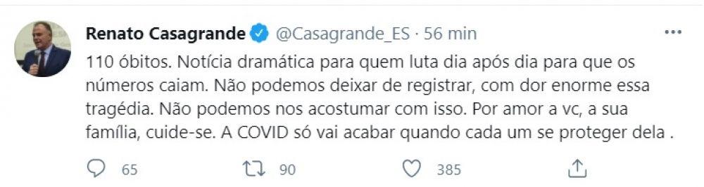 O Governador Renato Casagrande confirmou o triste recorde por meio de rede social.